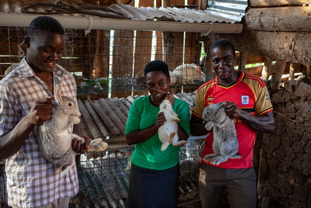 Our staff posing with the rabbits